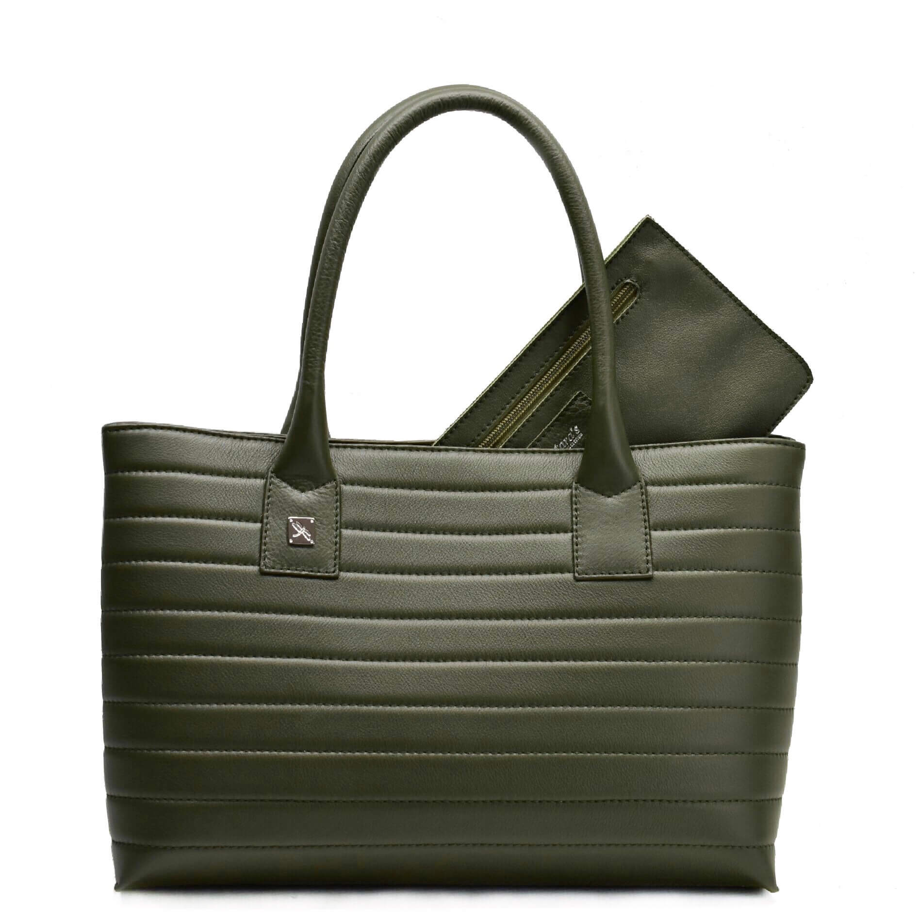 Green Tote Leather Handbag. Natalia S