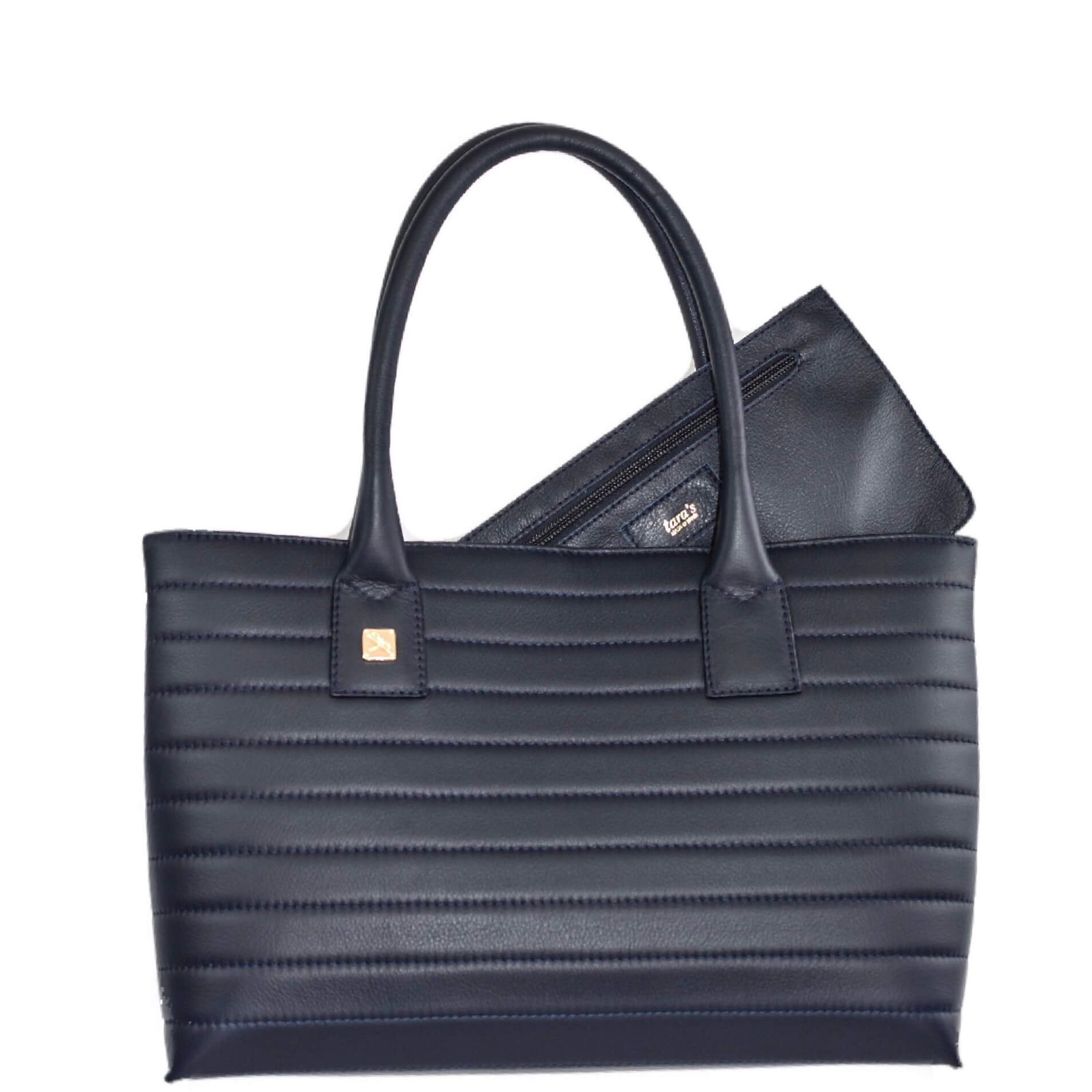 Navy Tote Leather Handbag. Natalia S