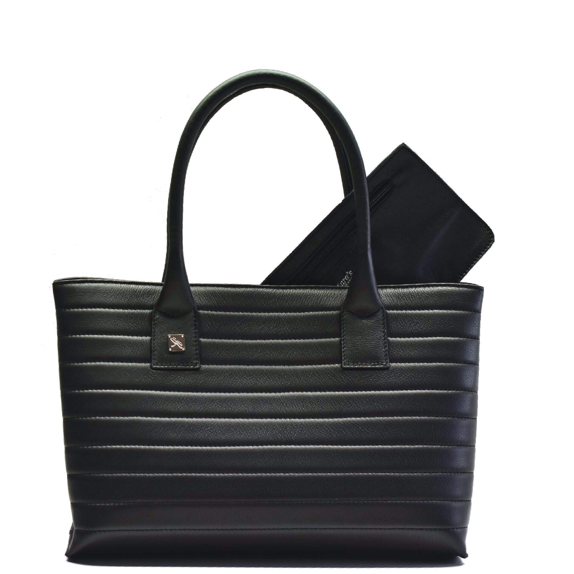 Black Tote Leather Handbag. Natalia S