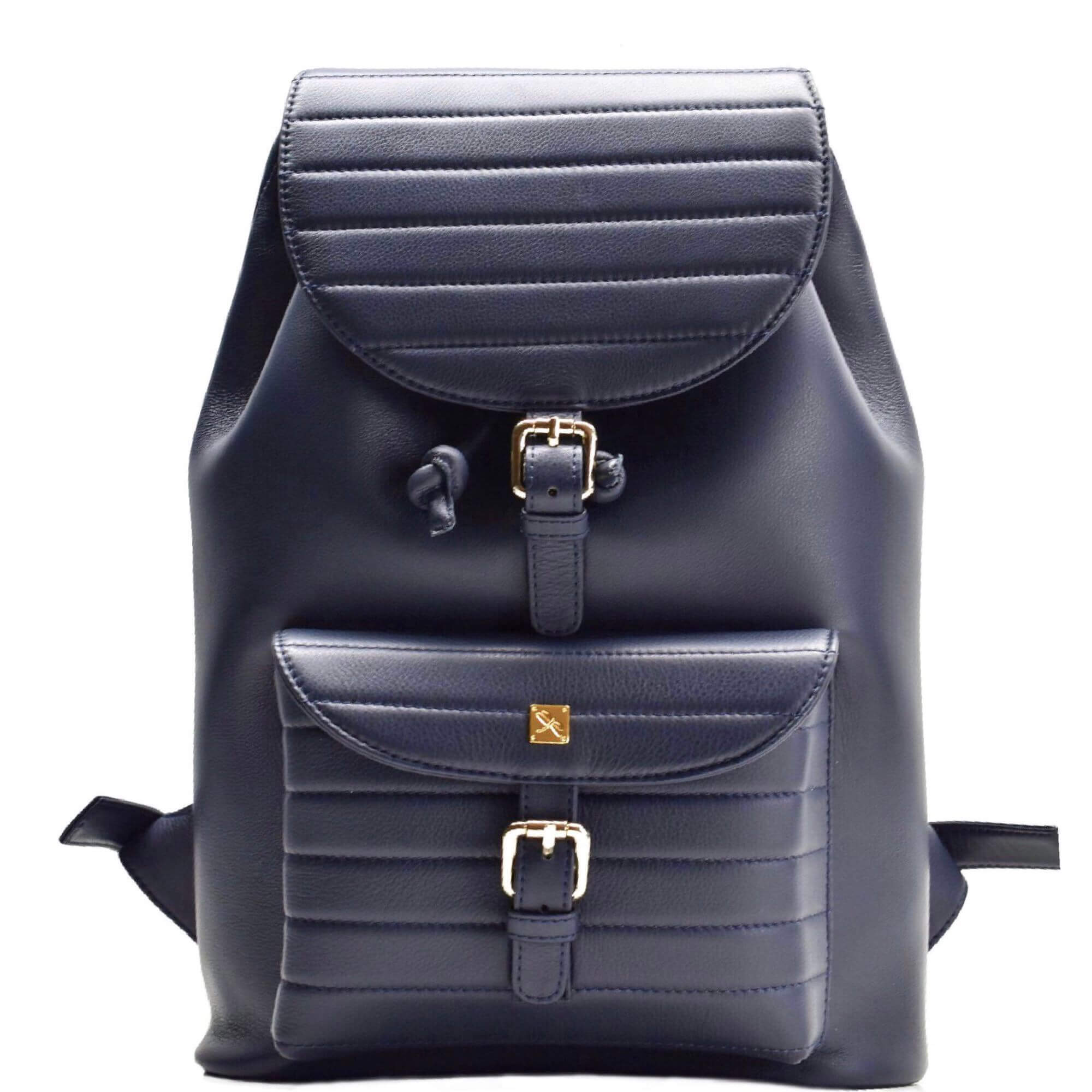 Navy Blue leather Backpack. Vermont