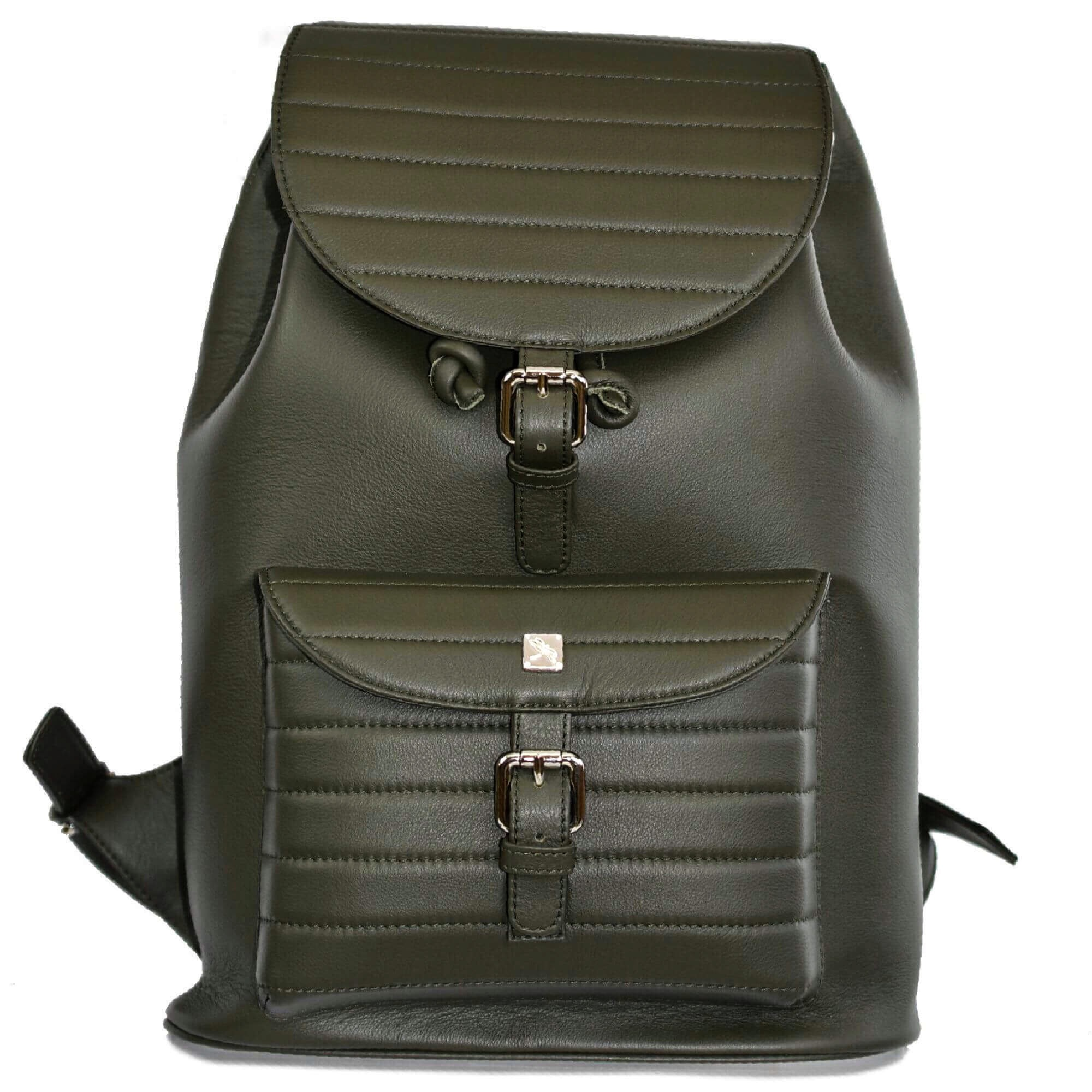 Green leather Backpack. Vermont