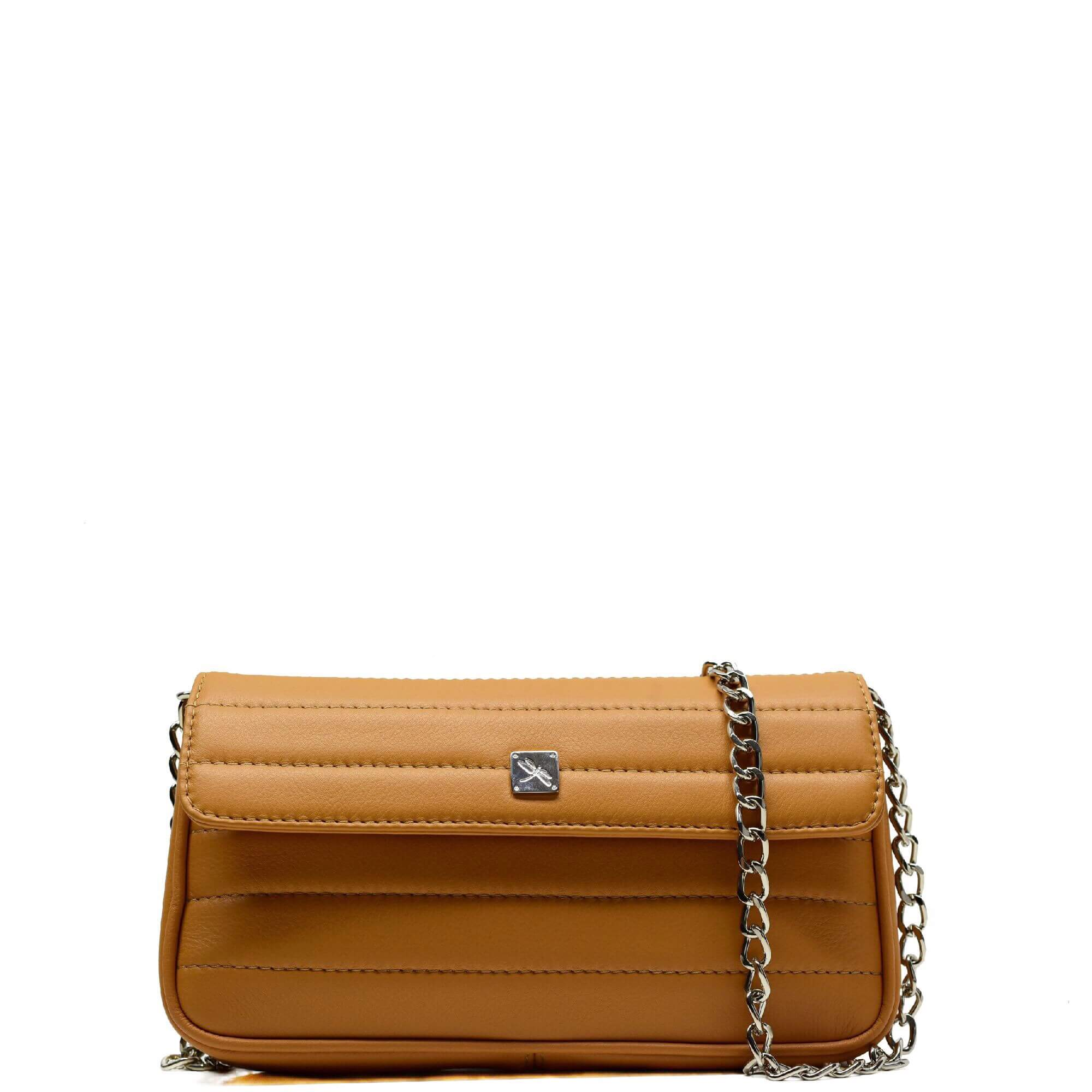 Camel Matelassé Chain Crossbody - Leather Handbags | TARA´S