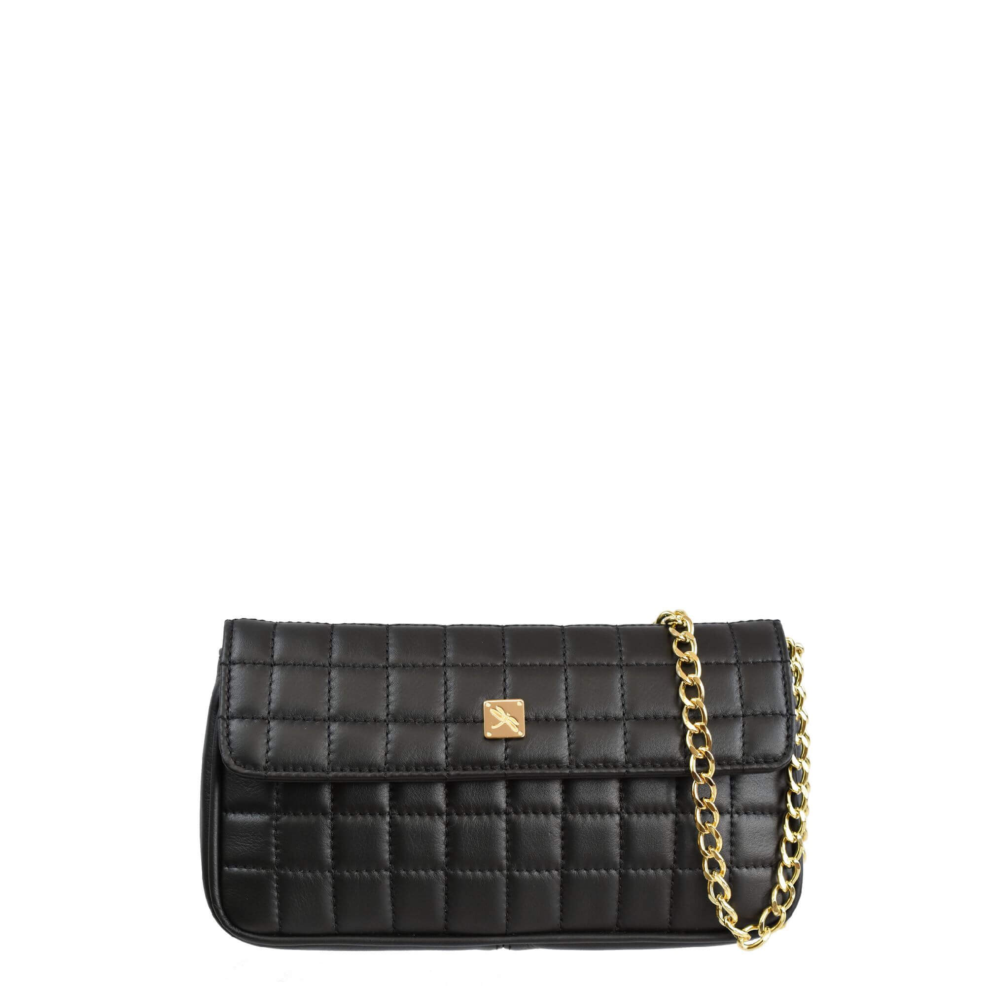 Black Matelassé Chain Crossbody - Leather Handbags | TARA´S