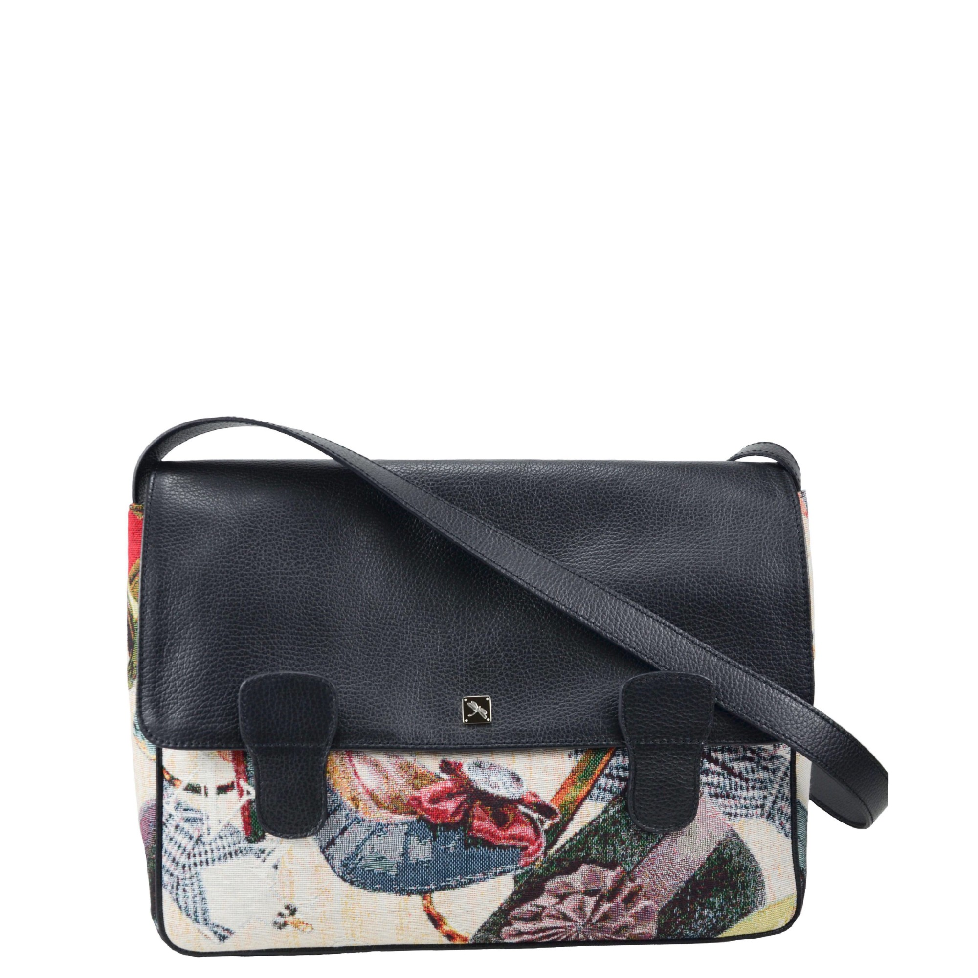 Alexandra Jacquard Black Messenger Bag
