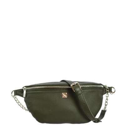 Green Leather Fanny Pack - Leather Handbags | TARA´S