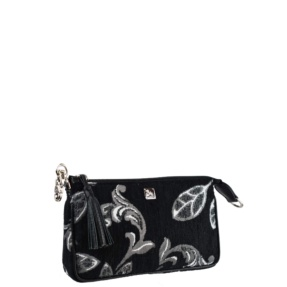 mini crossbody black and white flowers