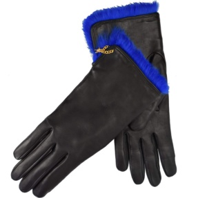 Black and blue leather gloves