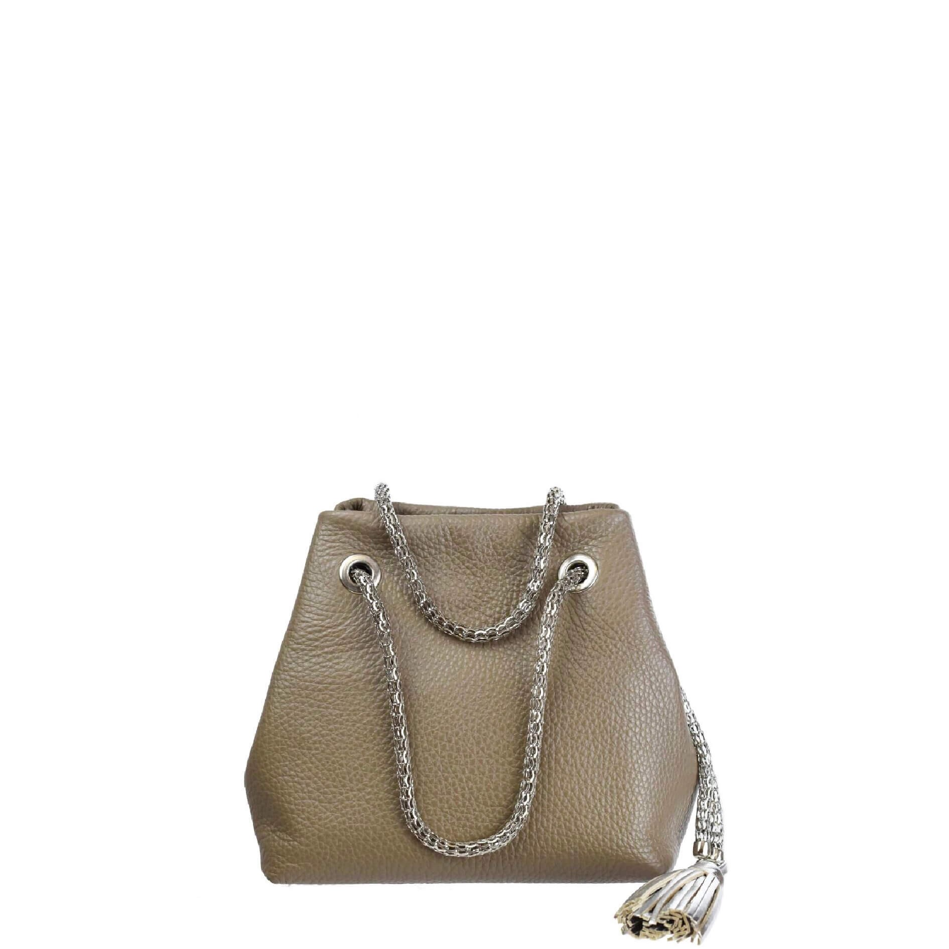 mini leather bag with chain