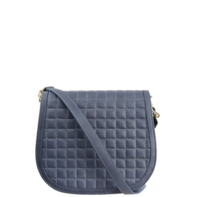 Stone Blue Matelassé Stitch Saddle Crossbody - Leather Handbags | TARA´S