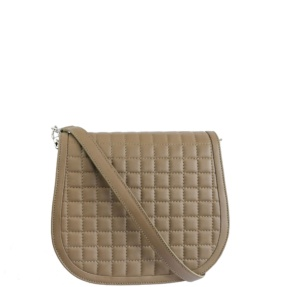 Beige Taupe Matelassé Stitch Saddle Crossbody - Leather Handbags | TARA´S