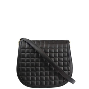 Black Matelassé Stitch Saddle Crossbody - Leather Handbags | TARA´S