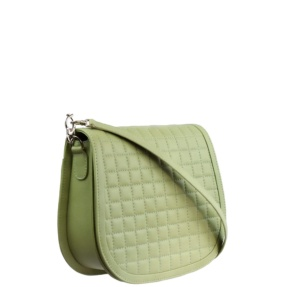 Mint Green Matelassé Stitch Saddle Crossbody - Leather Handbags | TARA´S