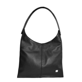 Black Smooth Leather Hobo Bag. Deia