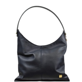 Navy Blue Smooth Leather Hobo Bag. Deia