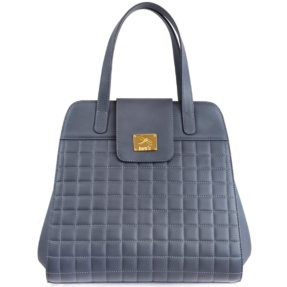Structured Stone Blue Matelassé Handbag - Leather Handbags | TARA´S