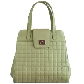 Structured Mint Green Matelassé Handbag - Leather Handbags | TARA´S