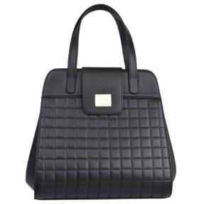 Structured Black Matelassé Handbag - Leather Handbags | TARA´S