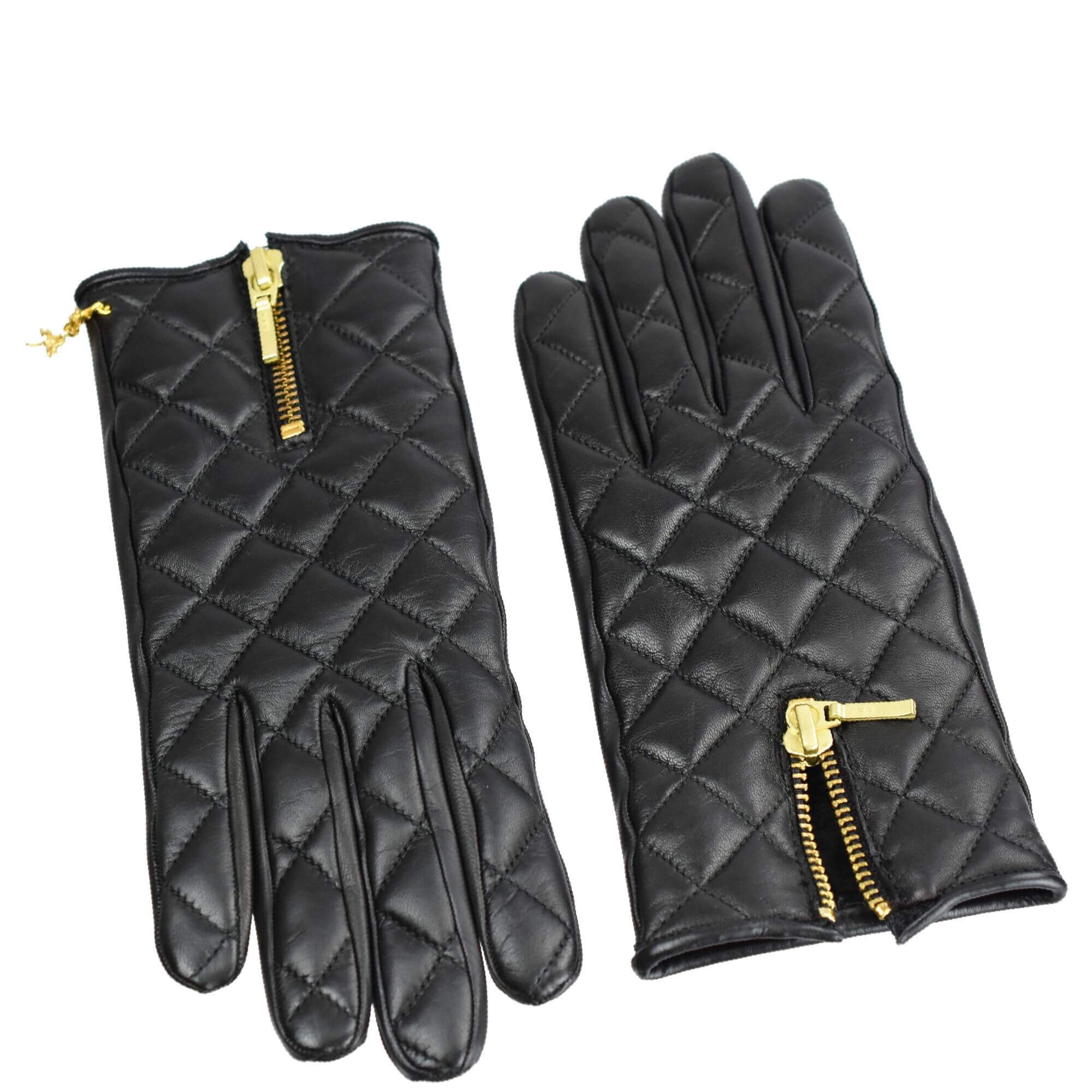 Quilted Black Leather Gloves