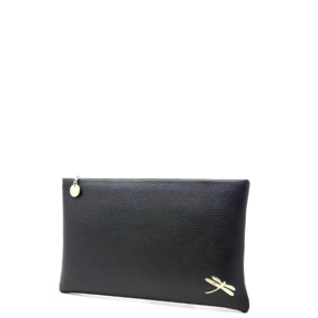 Minimalist Design Clutch bag with polished Italian details. Top zip closure, back hand strap, one interior zip pocket, open slot. Soft leather lining.