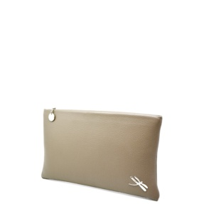 Minimalist Design Clutch bag with polished Italian details. Top zip closure, back hand strap, interior zip pocket Soft leather lining.