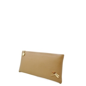 Minimalist Design Clutch Handbag with polished Italian details. Top zip closure, back hand strap, one interior pocket. Soft leather lining.