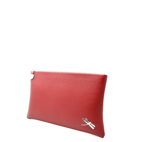 Minimalist Design Clutch bag with polished Italian details. Top zip closure, back hand strap, one interior zip pocket Soft leather lining.