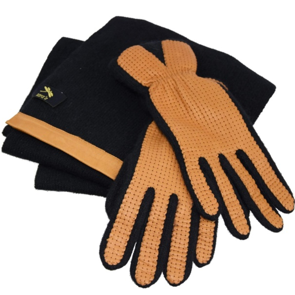 Brown & Black Leather Gloves and Scarf
