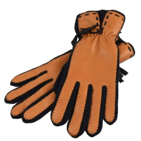 Brown & Black Soft Leather Gloves