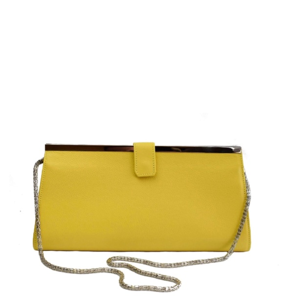 yellow leather clutch