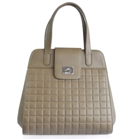 Structured Taupe Matelassé Handbag - Leather Handbags | TARA´S