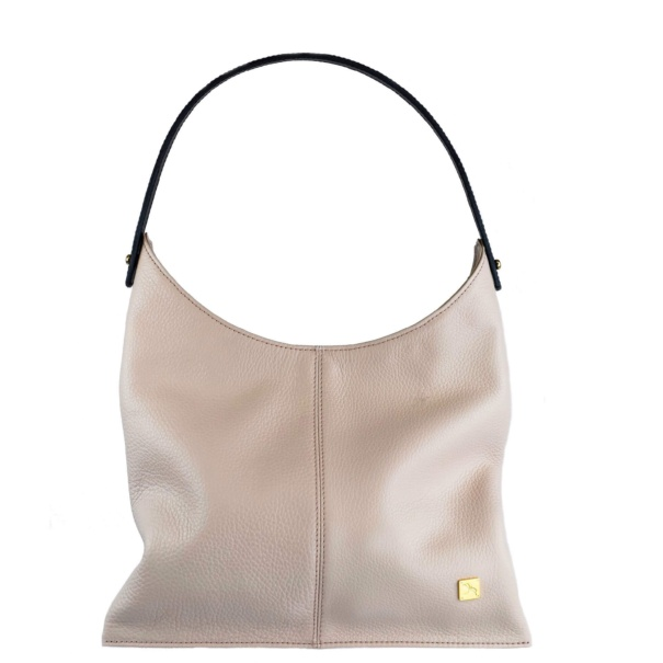 Soft Pink Leather Hobo Bag. Deia