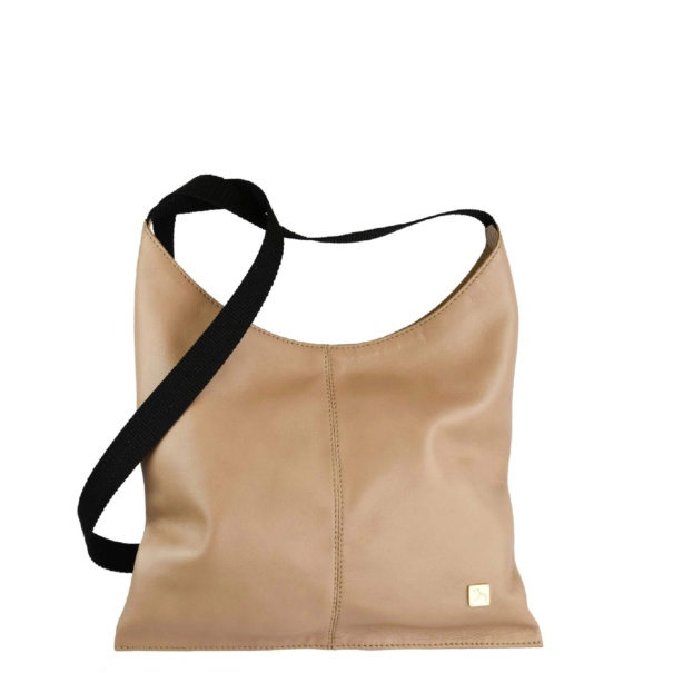 Beige Leather Crossover Bag. Deia
