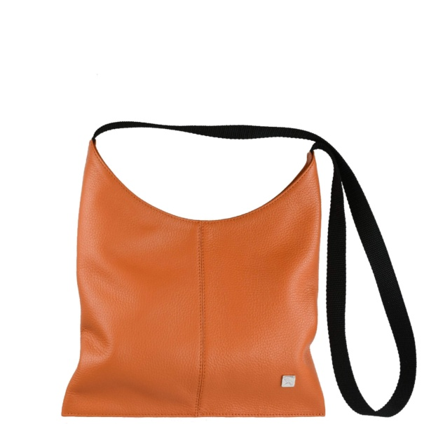 Orange Leather Crossover Bag. Deia