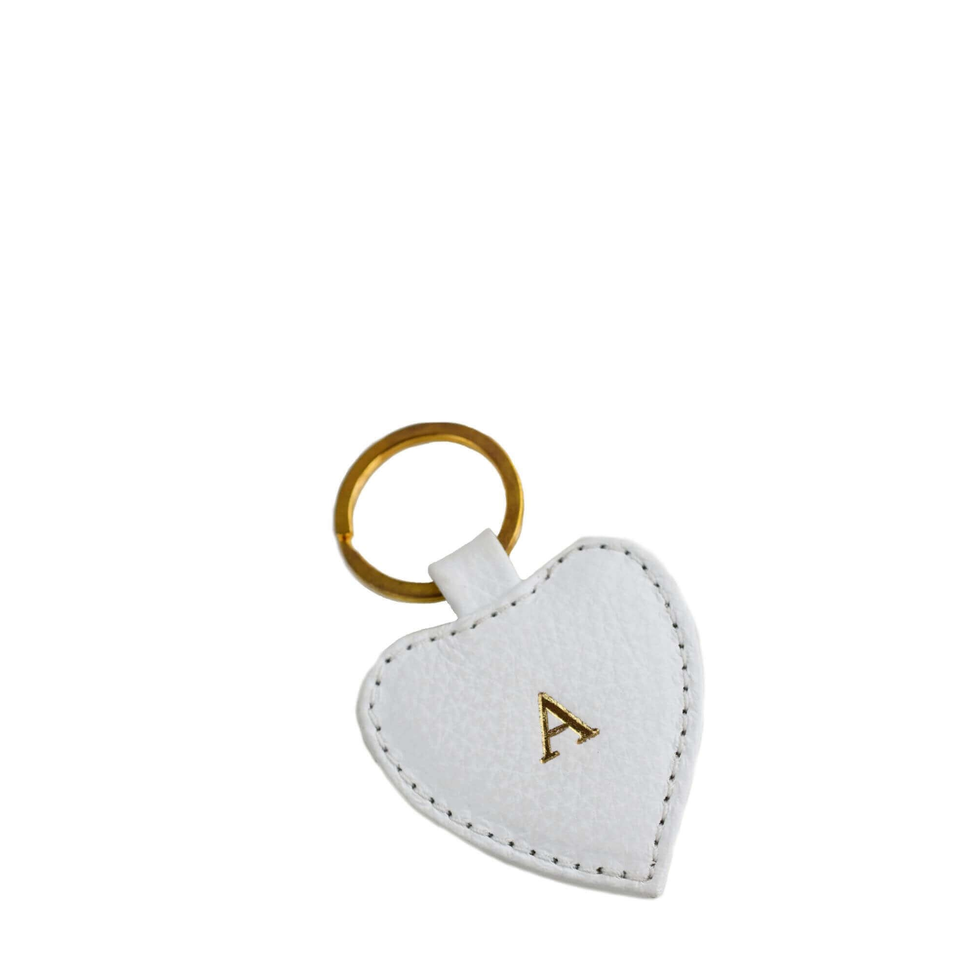 White Leather Keyring