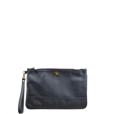 Small Navy Blue Leather Pouch. Malta