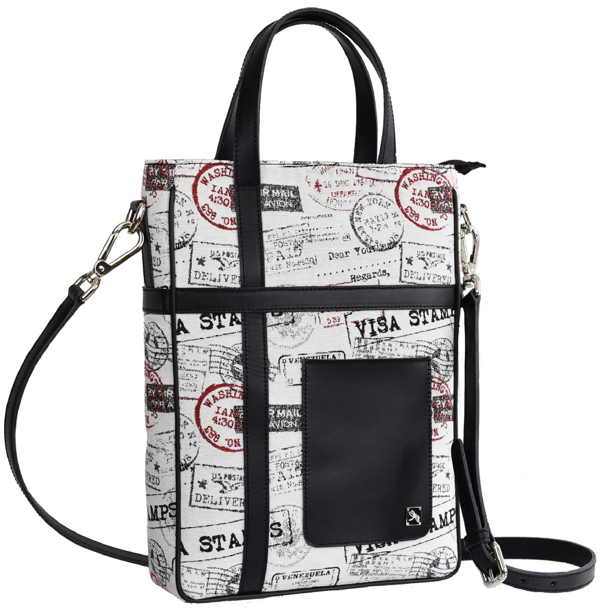 Vertical Jacquard and leather Briefcase - Leather Bags | TARA´S
