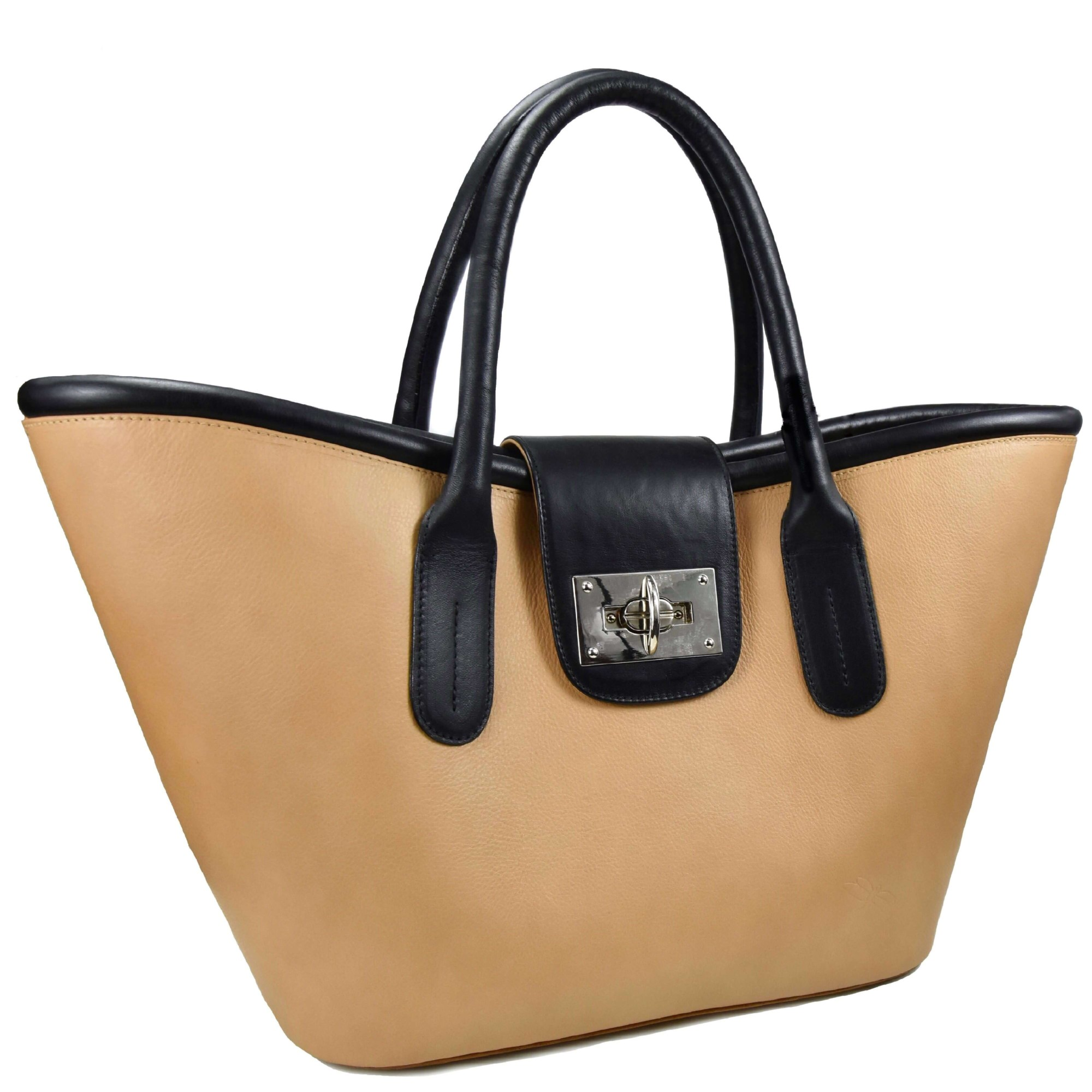 beige and black leather basket tara's handbags