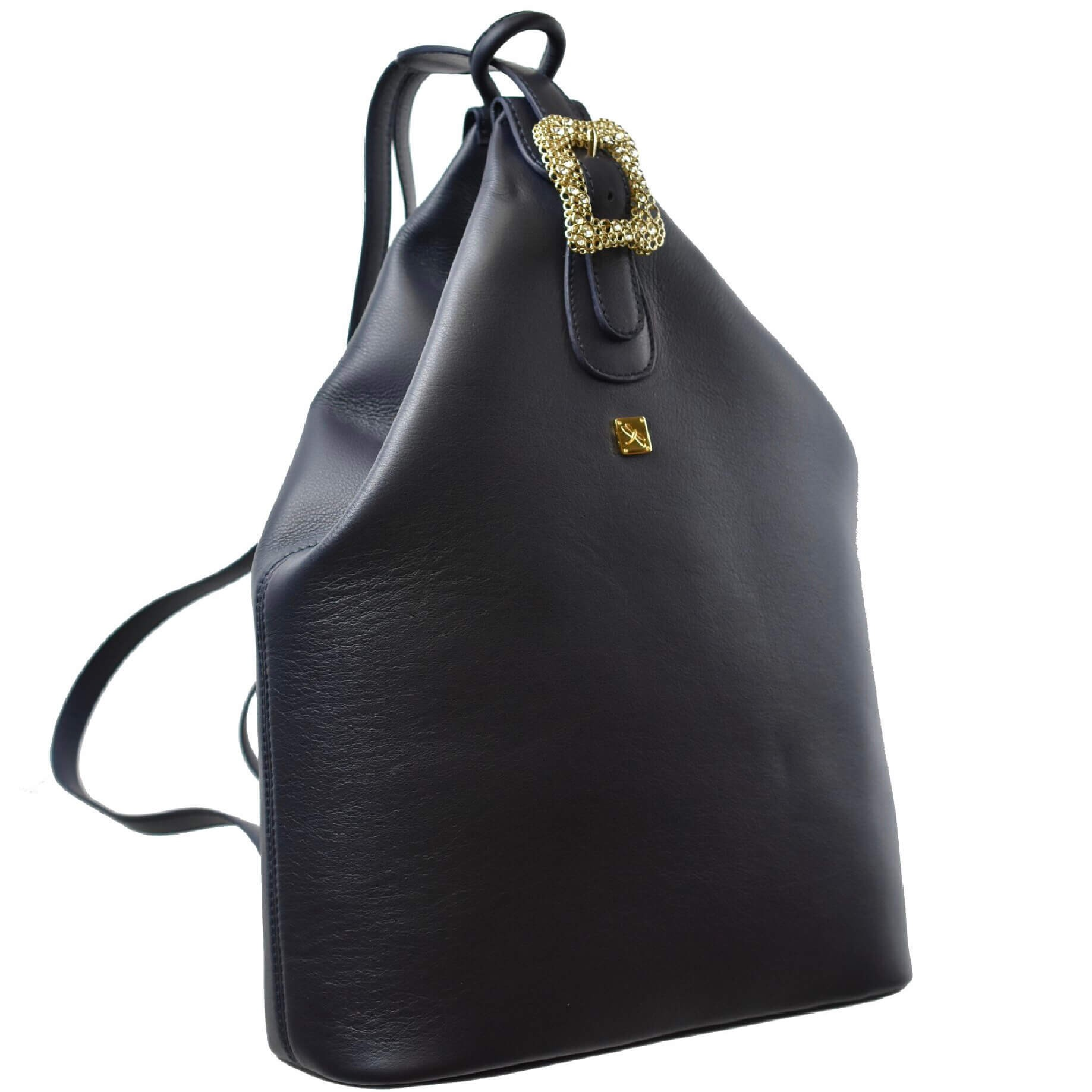 Navy Blue Leather Backpack- Leather Handbags | TARA´S