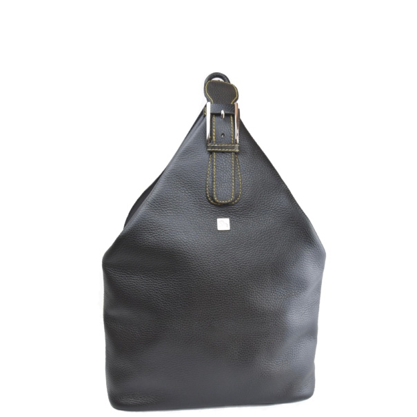 Black leather backpack Mia