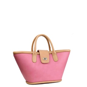 pink leather basket tara's handbags