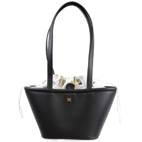 Black Leather Structured Shoulder Basket. Leather Handbags | TARA´S