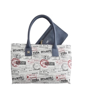 Blue and Jacquard Tote bag. Natalia S