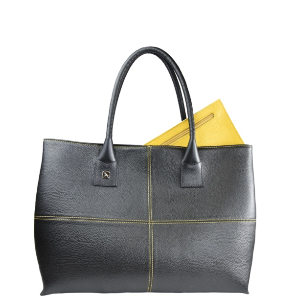 Natalia L Tote black and yellow
