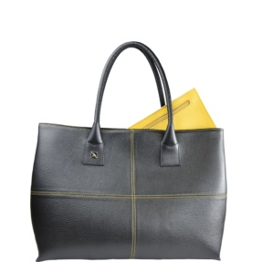Natalia L Black and Yellow Tote