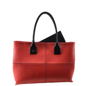 Natalia L Red and Black Tote