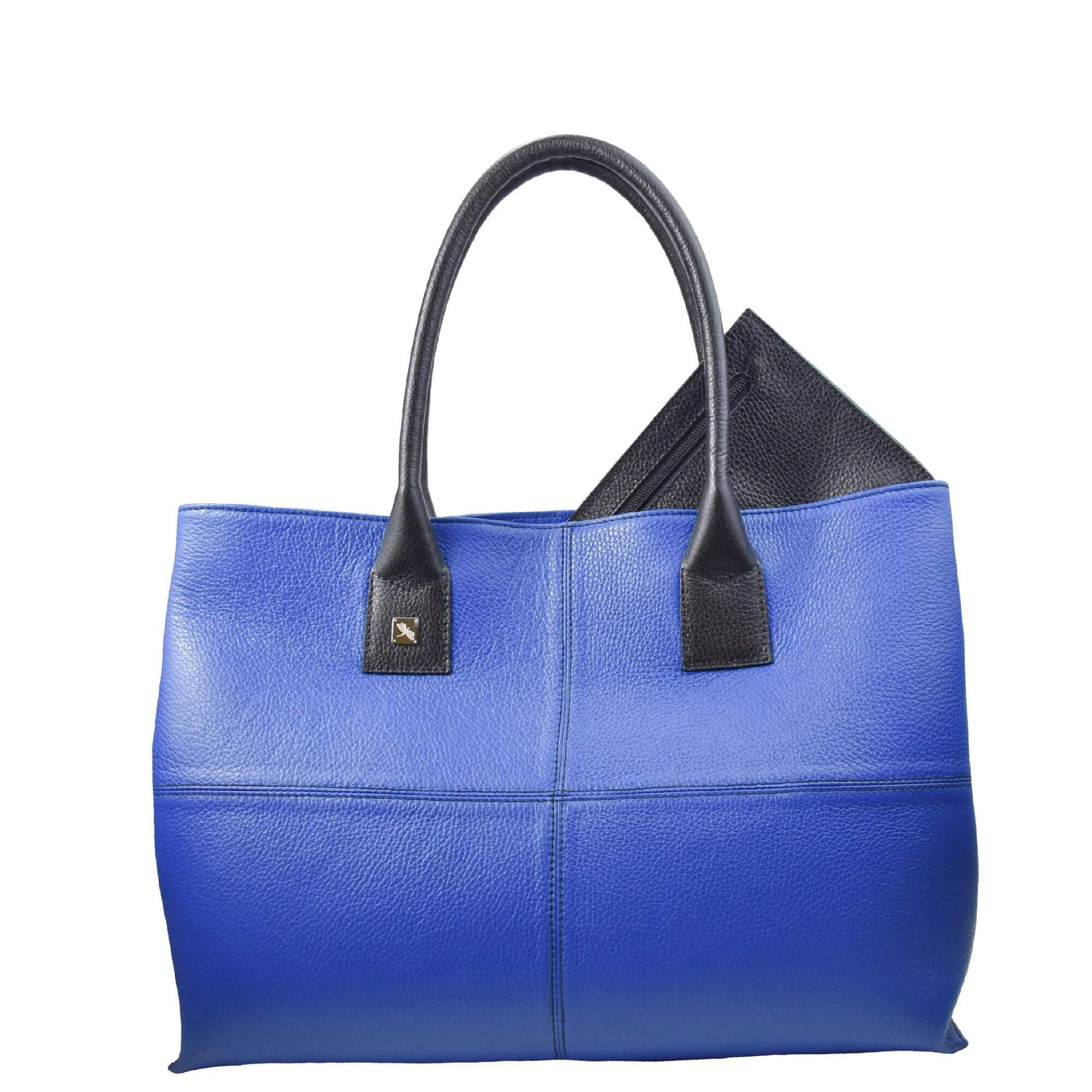 blue and black leather tote bag