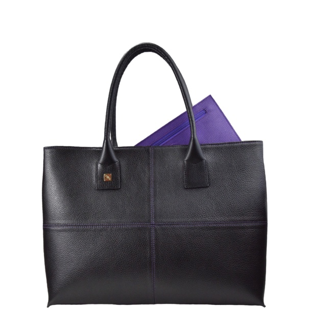 Natalia L Purple Tote Bag