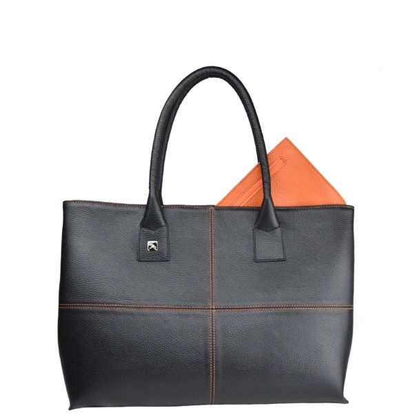 Natalia L Tote bag black and orange