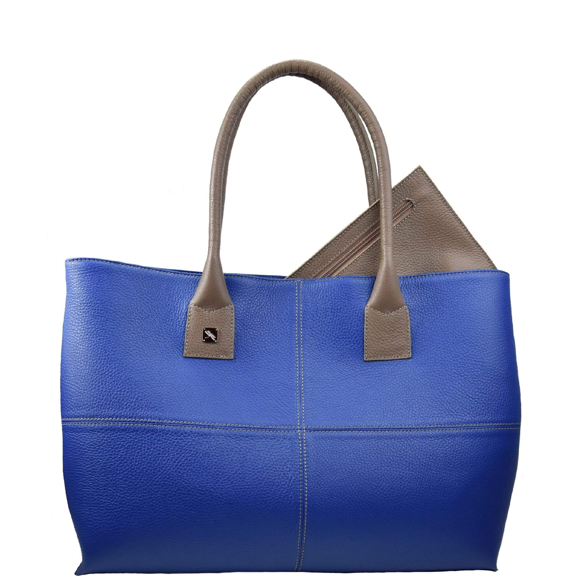 blue and taupe maxi bag