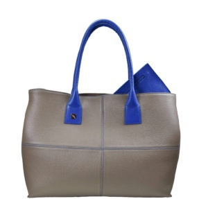 taupe and blue tote bag